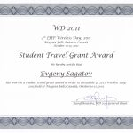 Student Travel Grant Award by IFIP Wireless Days 2011